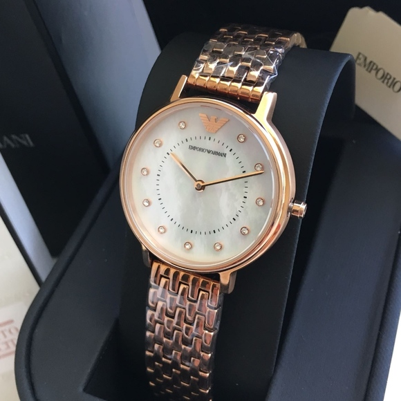 56715d84 NEW Emporio Armani Rose Gold Women's Watch Ar11006 NWT